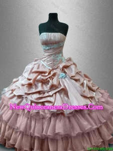 Custom Made Strapless Quinceanera Gowns with Ruffled Layers