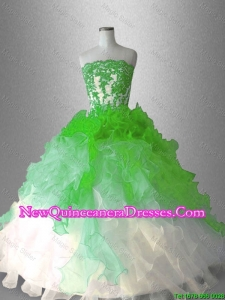 Custom Made Strapless Sweet 16 Dresses with Appliques and Ruffles