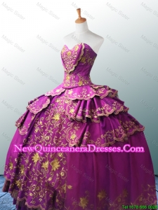 Custom Made Sweetheart Ball Gown Fuchsia Quinceanera Dresses with Appliques
