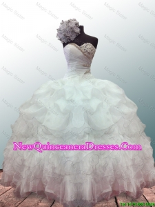 Custom Made Sweetheart Ball Gown White Quinceanera Dresses with Beading and Ruffles