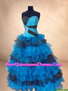Discount Beaded Multi Color Quinceanera Gowns with Ruffled Layers