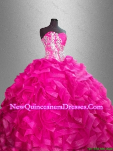 Beaded and Ruffles Custom Made Sweet 16 Gowns with Sweetheart