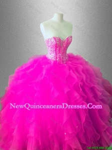 Custom Made Ball Gown Ruffles Sweet 16 Gowns with Beading