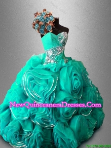 Custom Made Ball Gown Sweet 16 Dresses with Beading and Rolling Flowers
