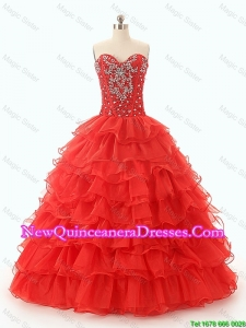 Custom Made Beaded and Ruffled Layers Quinceanera Dresses in Red