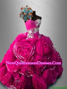 Custom Made Rolling Flowers Organza Sweetheart Quinceanera Gowns