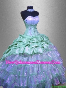 Custom Made Ruffled Layers Sweet 16 Dresses with Beading