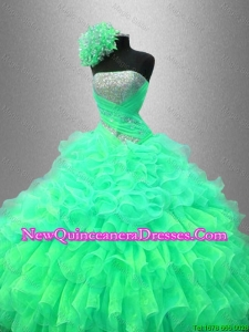 Custom Made Ruffles and Sequined Beautiful Sweet 16 Dresses with Strapless