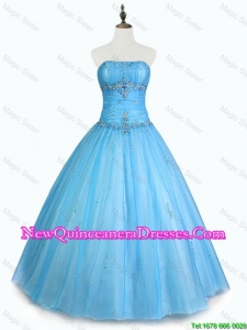 Custom Made Strapless Beaded Quinceanera Dresses with Floor Length