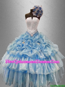 Custom Made Strapless Beaded Quinceanera Gowns with Ruffled Layers