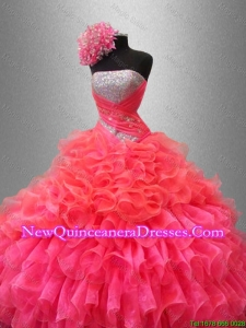 Custom Made Strapless Quinceanera Dresses with Sequins and Ruffles