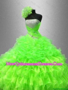 Custom Made Strapless Quinceanera Gowns in Spring Green