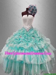 Pick Ups and Beaded Custom Made Sweet 16 Gowns with Ruffled Layers