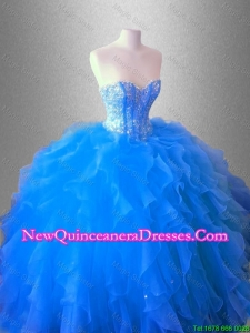 Ruffles and Beaed Custom Made Quinceanera Dresses with Sweetheart