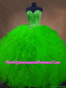 Custom Made Beaded Spring Green Sweet 16 Gowns with Ruffles