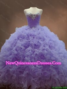Custom Made Beaded Sweetheart Lavender Sweet 16 Gowns with Ball Gowns