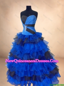 Custom Made Beaded and Ruffled Layers Quinceanera Gowns in Multi Color