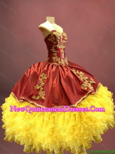 Custom Made Wine Red and Yellow Sweet 16 Dresses with Appliques and Ruffles