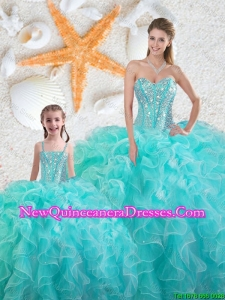 2016 Spring Beautiful Aqua Blue Macthing Sister Dresses with Beading and Ruffles