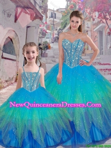 2016 Spring Classical Beaded Ball Gown Macthing Sister Dresses with Sweetheart