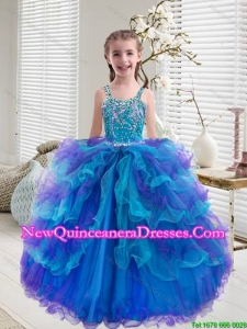 2015 Fall New Style Beaded and Ruffled Layers Mini Quinceanera Dresses in Multi Color