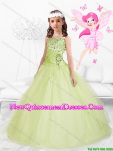 2015 Winter Popular Straps Beaded Mini Quinceanera Dresses in Yellow Green