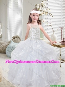 2015 Winter Popular White Mini Quinceanera Dresses with Beading and Ruffles