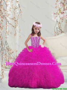 2015 Fall New Style Ball Gown Fuchsia Mini Quinceanera Dresses with Beading and Ruffles