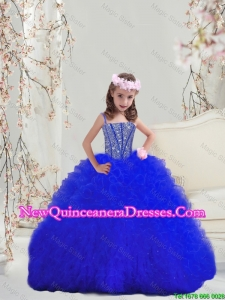2015 Fall New Style Beaded and Ruffles Royal Blue Mini Quinceanera Dresses with Spaghetti