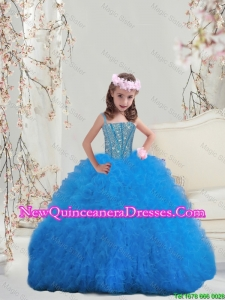 2015 Fall New Style Spaghetti Teal Mini Quinceanera Dresses with Beading and Ruffles
