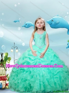 2016 Spring Perfect Scoop Apple Green Mini Quinceanera Dresses with Beading