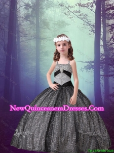 2016 Spring Perfect Straps Black Sequined Mini Quinceanera Dresses with Appliques