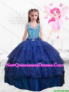Popular Beaded Floor Length Multi Color Mini Quinceanera Dresses in Royal Blue