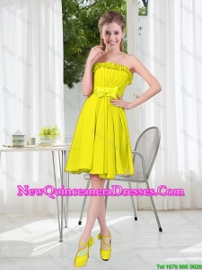 A Line Strapless Bowknot Custom Made Damas Dresses for Party