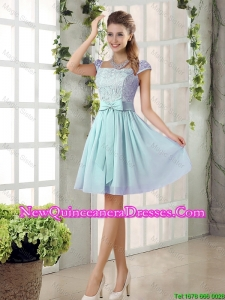 Perfect A Line Square Lace Damas Dresses with Bowknot