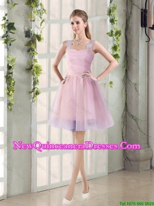 2015 Fall New A Line Straps Damas Dresses with Hand Made Flowers