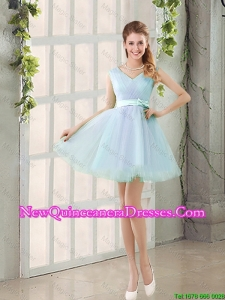 2015 Summer V Neck Strapless Short Damas Dresses with Bowknot
