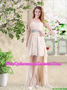 Affordable High Low Sweetheart Dama Dresses in Champagne