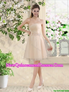 Comfortable Strapless Champagne Dama Dresses with Knee Length