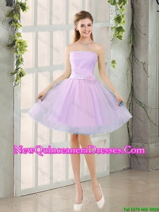 Custom Made A Line Strapless Ruching Damas Dresses with Belt