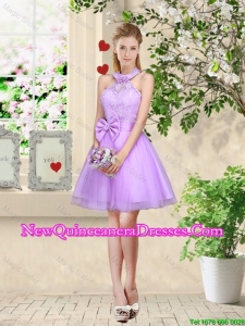 Feminine Halter Top Laced and Bowknot Damas Dresses in Lavender