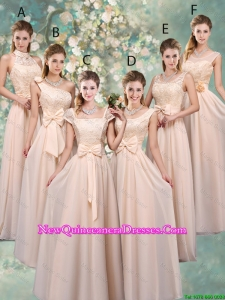 Luxurious Champagne Dama Dresses with Lace and Bowknot