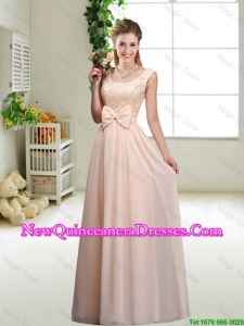 Perfect Bowknot Scoop Damas Dresses in Champagne