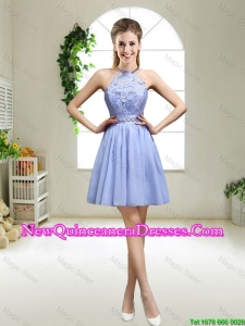 Pretty Lavender Halter Top Dama Dresses with Appliques for 2015
