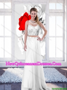 2015 New Style Empire Scoop White Damas Dresses with Brush Train