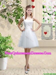 Discount One Shoulder Appliques Dama Dresses in White