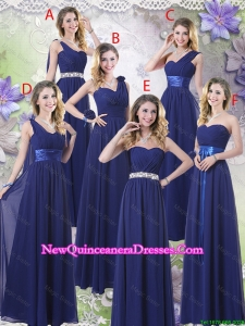 New Style Empire Floor Length Damas Dresses in Navy Blue