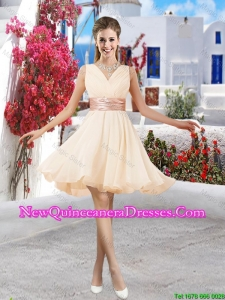 Affordable Champagne V Neck Damas Dresses with Belt and Ruching
