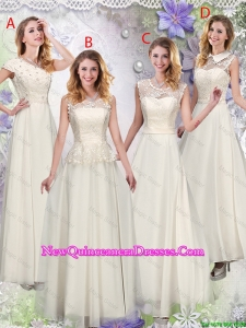 Feminine Champagne Laced Damas Dresses with Appliques