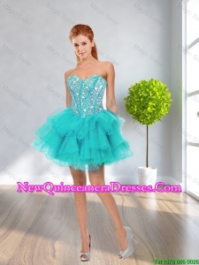 Latest Ball Gown Sweetheart Beaded Dama Dresses in Multi Color